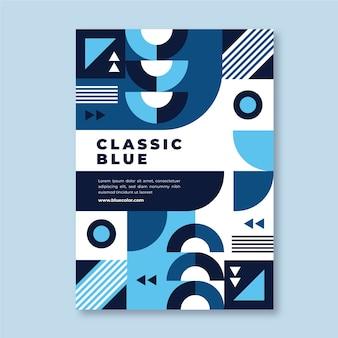 Modelo de cartaz azul clássico abstratc