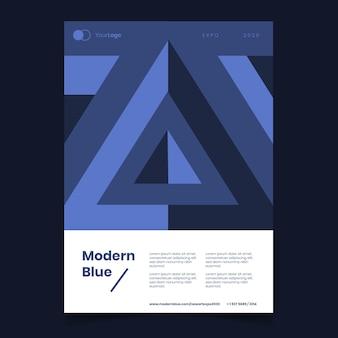 Modelo de cartaz azul clássico abstrato