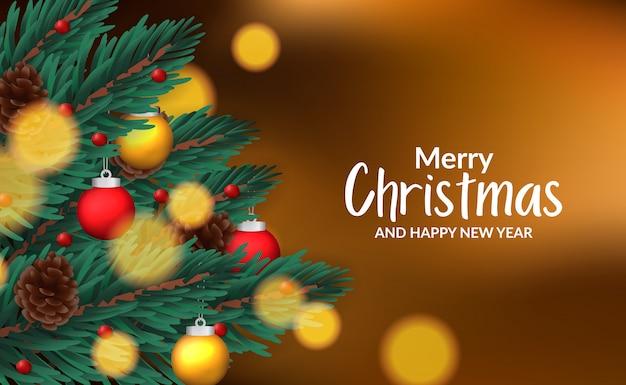 Modelo de cartaz banner de natal com ilustração de abeto deixa guirlanda com decoração