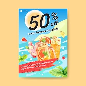 Modelo de cartaz - bebida de verão