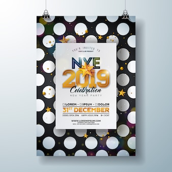 Modelo de cartaz - celebração do ano novo de 2019