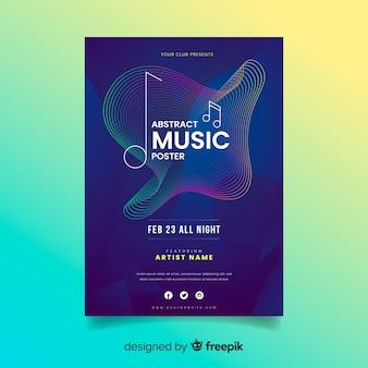 Modelo de cartaz colorido abstrato música