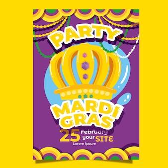 Modelo de cartaz colorido mardi gras