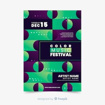 Modelo de cartaz colorido música geométrica