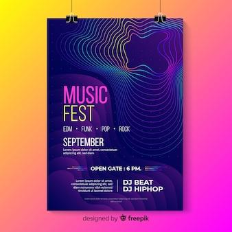 Modelo de cartaz colorido - ondas abstratas de música