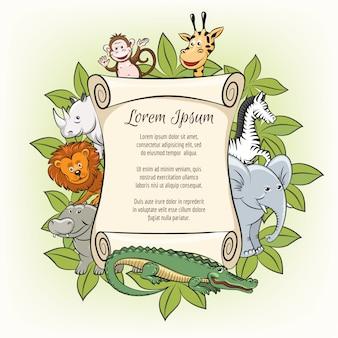 Modelo de cartaz com animais de zoológico