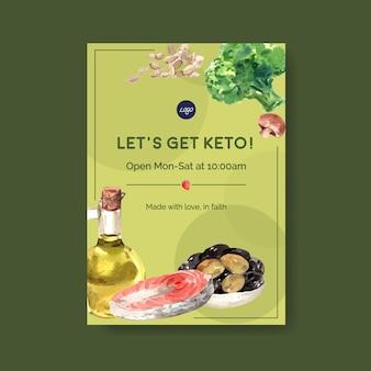 Modelo de cartaz com conceito de dieta cetogênica para anunciar e brochura ilustração aquarela.