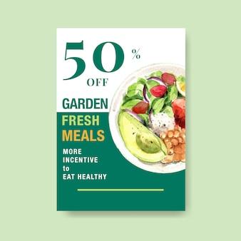 Modelo de cartaz com design de alimentos saudáveis e orgânicos