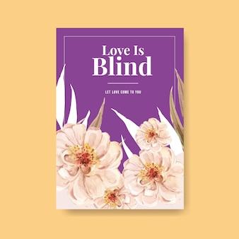Modelo de cartaz com design de conceito de amor florescendo para publicidade e marketing de ilustração em aquarela