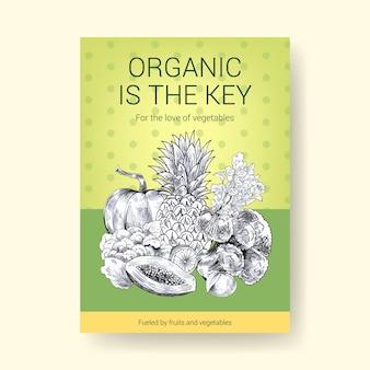 Modelo de cartaz com design de conceito de comida vegan.