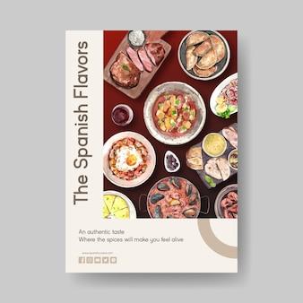Modelo de cartaz com design de conceito de cozinha espanhola para ilustração em aquarela de brochura e folheto