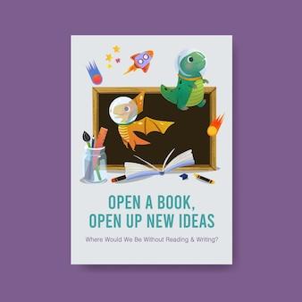 Modelo de cartaz com design de conceito de dia internacional da alfabetização para brochura e folheto em aquarela.