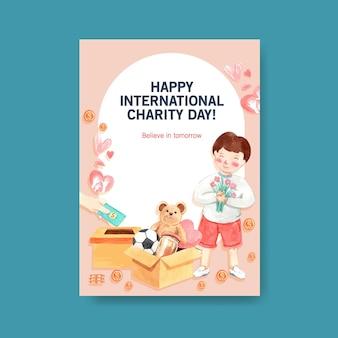 Modelo de cartaz com design de conceito de dia internacional da caridade para brochura e folheto em aquarela.