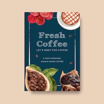 Modelo de cartaz com design de conceito de dia internacional do café para folheto e aquarela de marketing