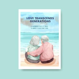 Modelo de cartaz com design de conceito de dia nacional dos avós para anunciar e brochura em aquarela.