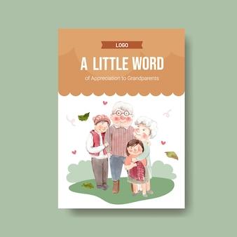 Modelo de cartaz com design de conceito de dia nacional dos avós para anunciar e brochura vetor aquarela.