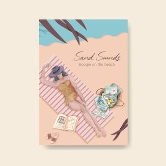 Modelo de cartaz com design de conceito de férias na praia para ilustração em aquarela de folheto