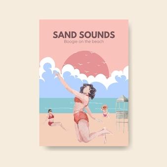 Modelo de cartaz com design de conceito de férias na praia para ilustração em aquarela de folheto Vetor grátis
