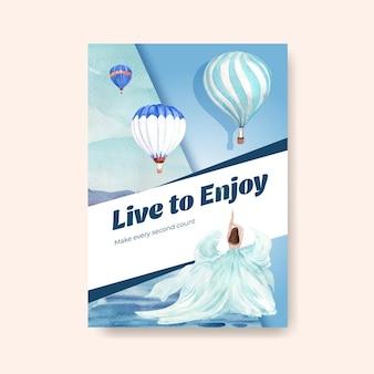 Modelo de cartaz com design de conceito de festa de balão para propaganda e ilustração em aquarela de brochura