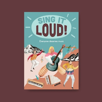 Modelo de cartaz com design de conceito de festival de música para brochura e ilustração vetorial aquarela de marketing