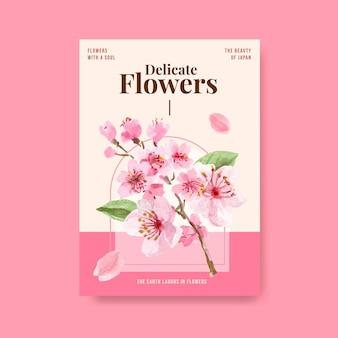 Modelo de cartaz com design de conceito de flor de cerejeira para publicidade e marketing de ilustração em aquarela