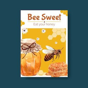 Modelo de cartaz com design de conceito de mel para marketing e folheto ilustração vetorial aquarela