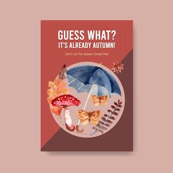 Modelo de cartaz com design de conceito diário outono para aquarela de brochura e folheto
