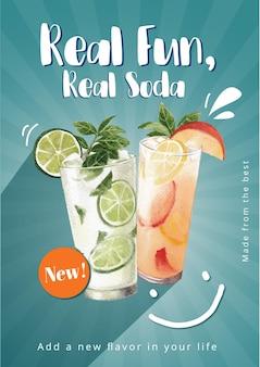 Modelo de cartaz com design de refrigerante para ilustração em aquarela de banner