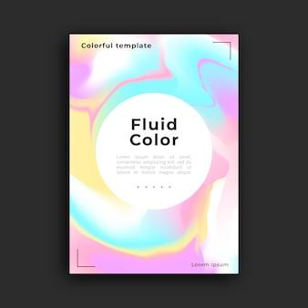 Modelo de cartaz com efeito fluido colorido