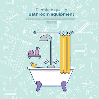 Modelo de cartaz com espelho de contorno liso, vaso sanitário, pia, chuveiro.