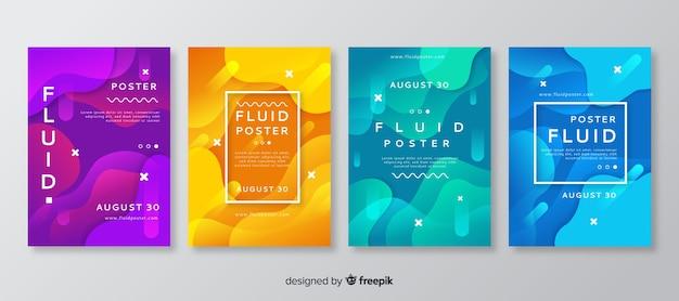 Modelo de cartaz com formas fluidas