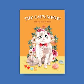 Modelo de cartaz com gato fofo