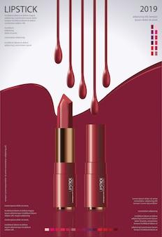 Modelo de cartaz com ilustração de batom cosmético
