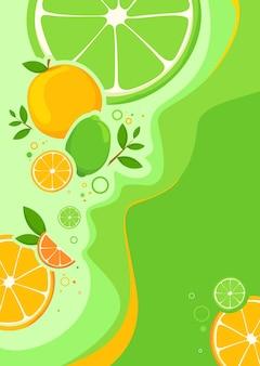 Modelo de cartaz com laranjas e limas. arte do conceito de frutas cítricas.