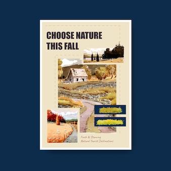 Modelo de cartaz com paisagem no outono design. outono