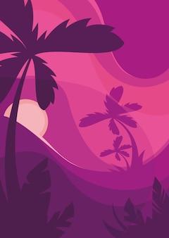 Modelo de cartaz com palmeiras ao pôr do sol. conceito de verão em design plano.