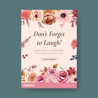 Modelo de cartaz com projeto de conceito de flor outono para brochura e marketing ilustração aquarela.