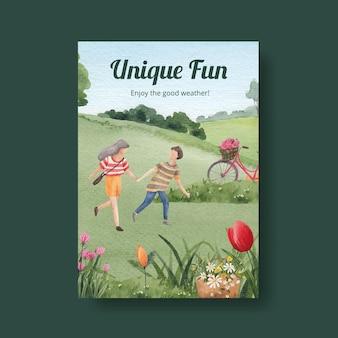 Modelo de cartaz com projeto de conceito de parque e família para ilustração em aquarela de folheto e brochura