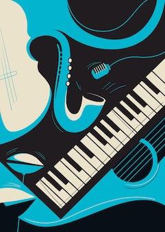 Modelo de cartaz com saxofone e piano. arte do conceito de jazz.