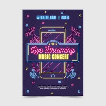 Modelo de cartaz - concerto de música ao vivo