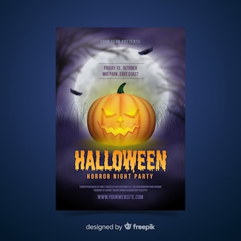 Modelo de cartaz de abóbora de halloween realista