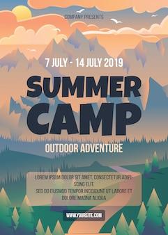 Modelo de cartaz de acampamento de verão