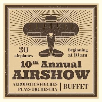 Modelo de cartaz de airshow vintage com avião