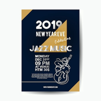 Modelo de cartaz de ano novo de 2019 para vetor de concerto de música jazz