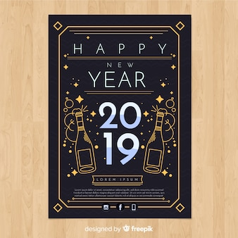 Modelo de cartaz de ano novo de garrafas de champanhe