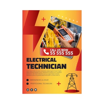 Modelo de cartaz de anúncio de eletricista
