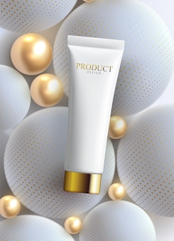 Modelo de cartaz de anúncios creme anti-rugas facial. produto premium de cosméticos. design de maquete de embalagens de cosméticos.