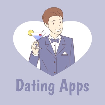 Modelo de cartaz de aplicativos de namoro. homem que guarda o vidro da ilustração do esboço dos desenhos animados do cocktail.
