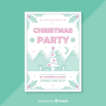 Modelo de cartaz de árvore de natal linear de festa de natal