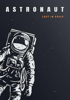 Modelo de cartaz de astronauta vintage